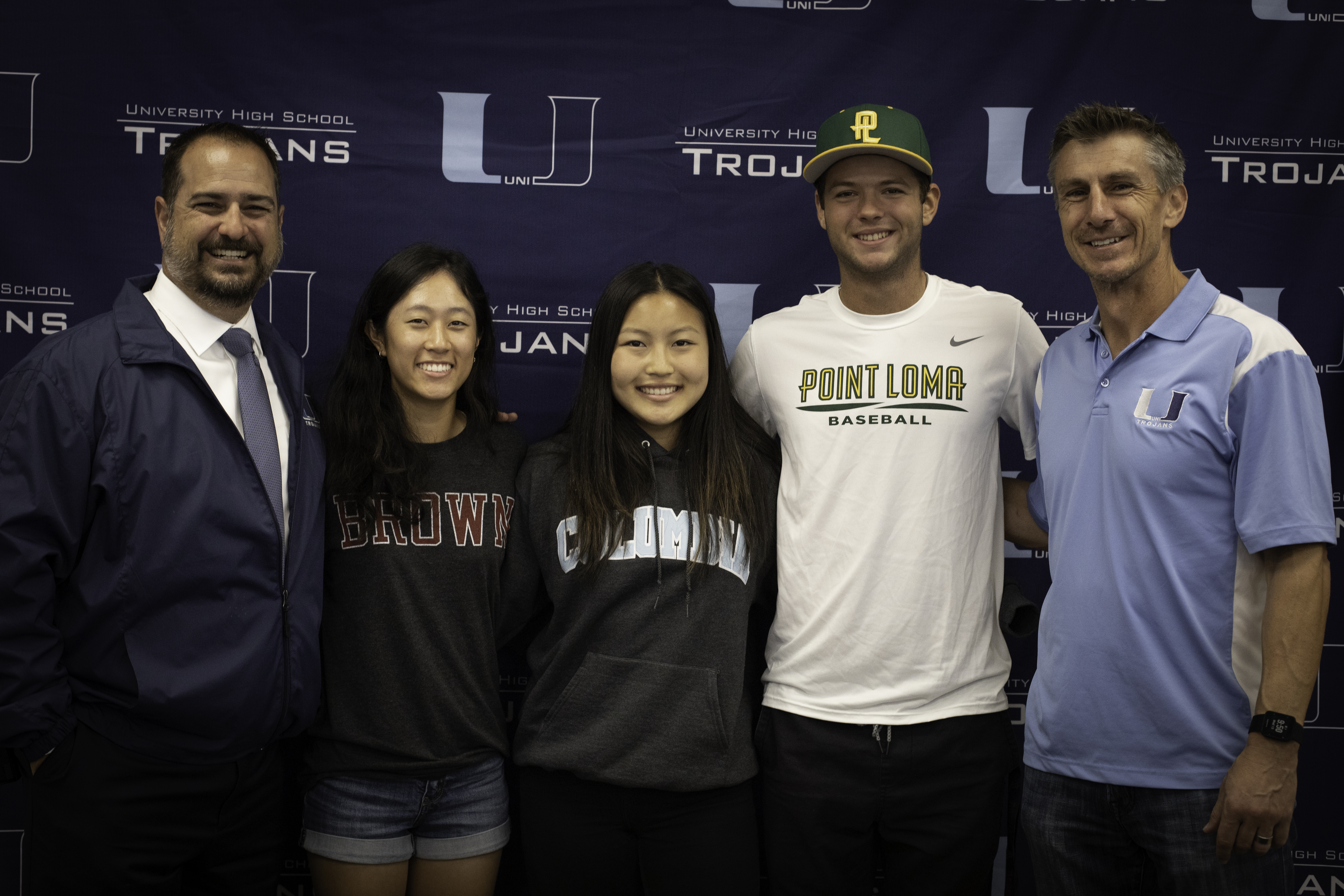 Uni celebrates Alexix Kim (Brown), Adam Axtell (Point Loma), and Lauren Cho (Columbia) at our Fall College Signing Event